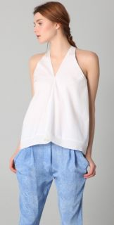 3.1 Phillip Lim Flared Tank with Ribbed Trim