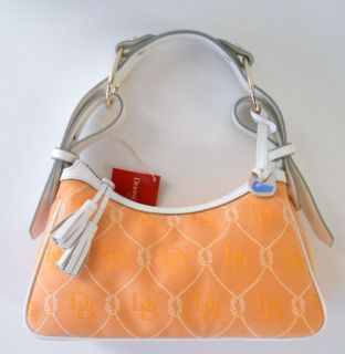 Dooney Bourke Orange Tangerine White Signature Rope Shoulder Hobo Bag