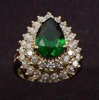 Jacqueline Kennedy Emerald Green Diamonique Absolute Tear Drop Dinner