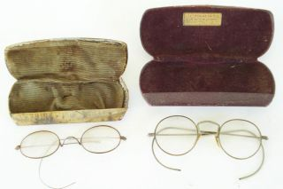 Pair Vintage Wire Rim Frame Glasses Dr J C Leonard Jr Lexington