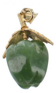 Vintage Gold Filled Jade Apple Pendant Charm Adorable