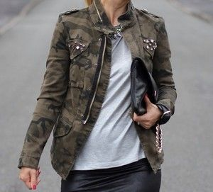 Zara Zipped Studded Camouflage Jacket Coat Blazer Military Bloggers