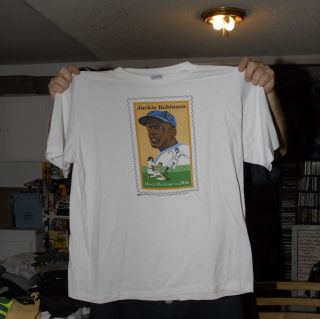 JACKIE ROBINSON POSTAGE STAMP T SHIRT BROOKLYN DODGERS USPS RARE PROMO