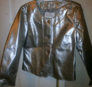 Silver Faux Leather Jacket Jaclyn Smith Silver Shiny Small Christmas