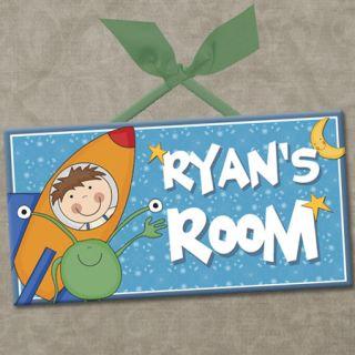Personalized Kids Room Door Sign Space Adventure Rocket Ride Cute Wall