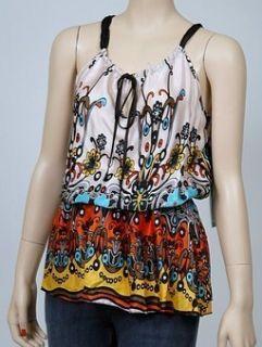 New Jaloux Print Tie Waist Cami Womens Shirt Coral L