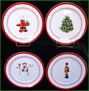 Williams Sonoma Christmas Icon Salad Plates Gingerbread Man Tree