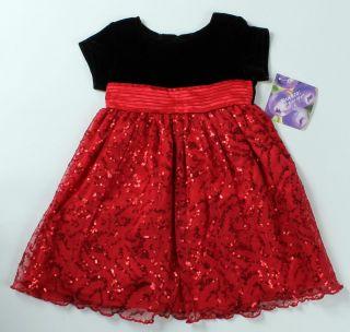 Months Blueberi Black Velvet Red Sequin Christmas Holiday Dress