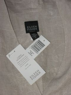 Eileen Fisher Natural Linen Jacquard Long Jacket 1x New