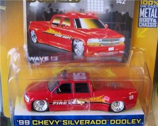 Jada Dub City Fire Dept 99 Chevy Silverado Dually Fire Truck Flames C