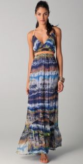Twelfth St. by Cynthia Vincent Leather Strap Print Maxi Dress