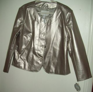 Jaclyn Smith Silver Shiny Leather Like Coat Jacket XL NWT