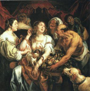 Jacob Jordaens 1653 Painting Antique Repo Print Death of Cleopatra