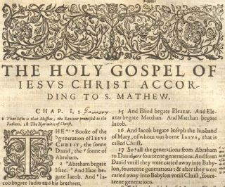 1607 Geneva Folio Roman Letter Bible Leaf Title to Matthew Woodcuts