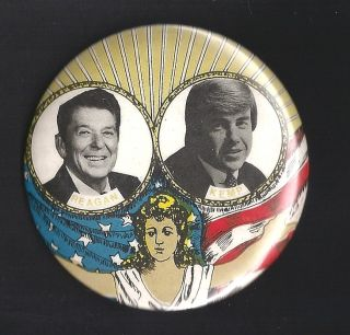 1988 Ronald Reagan Jack Kemp with Lady Liberty Campaign Button Pin 3