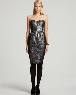 Connection Little Shilling Metallic Silver Jacquard Dress s M