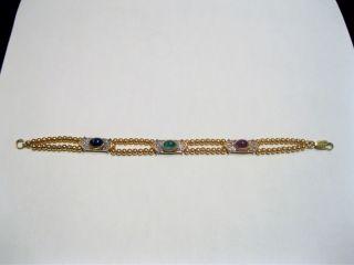 Sapphire Emerald Ruby Diamond 18K Gold Bracelet Gregory James
