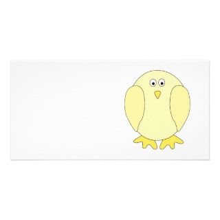 Cute Light Yellow Bird. Cartoon Chick. Photo Card Template