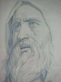 Original C. Roth 1875 Sketch Drawing Portrait of Old Man With Beard