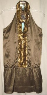 Jaloux Sexy Gold Sequin Front Silk Tunic Top s $115