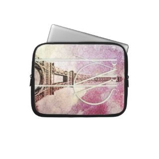 Girly pink, purple damask Eiffel Tower, Paris Laptop Sleeves