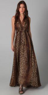Haute Hippie Ruched Leopard Gown