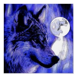 Grey Wolf Portrait & Full Moon   Blue Tones Face of Gray Wolf