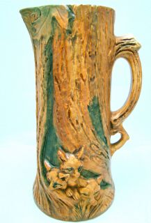 Weller Pottery Woodcraft Mrked 12 5 8 Three Foxes Tankard Circa 1920s