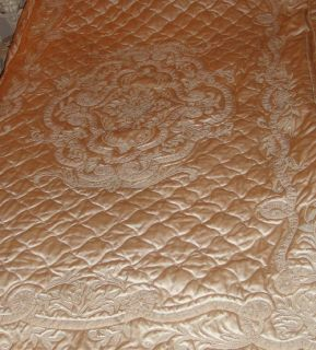 Exquisite French Antique Silk w Crewel Embroidery Bed Cover Bedspread