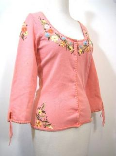 Betsey Johnson Womens Coral Pink Embroidered Cardigan Sweater Sz M