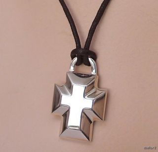 New Robert Lee Morris SS Beveled Cross Pendant Necklace