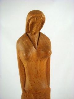 Vintage Hand Carved Wood Woman Sculpture Mexico Art