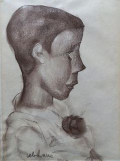 Original Signed Vintage Sketch Portrait Boy Young Man
