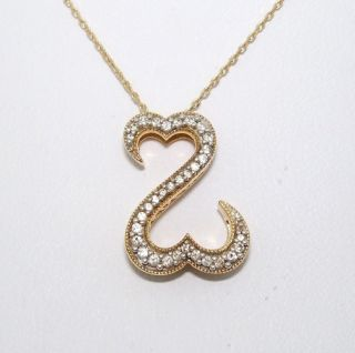 Jane Seymour 14K Solid Yellow Gold 0 25ct Diamond Open Heart Necklace