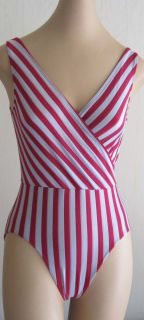 Vintage WORKOUT AEROBIC LEOTARD Bodysuit Gray + Red Stripes DANSKIN LG