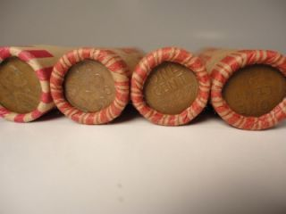 Lot of 7 Rolls of Copper Wheat Pennies Mixed Dates 350 Lincoln