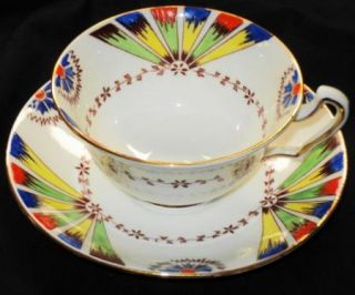 Edwards Brown England Yellow Red Blue Green Wide Fan Tea Cup and