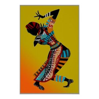 african tribal art woman riding an elephant poster