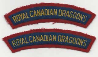 Pair of WW II Royal Canadian Dragoons Shoulder Flashes Patches