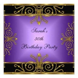 Elegant 30th Birthday Purple Black Gold Art Deco Invites
