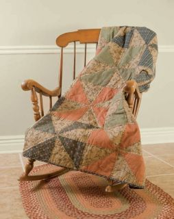 Jamesport Quilted Throw Primitive Rustic Lodge Tan Tea Dyed Pinwheel