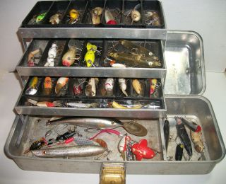 Vintage Umco 173 A Tackle Box with 45 Junk Drawer Fishing Lures