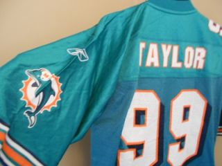 NEW MINOR FLAW JASON TAYLOR #99 MIAMI DOLPHINS MENS M MEDIUM Reebok