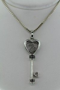 Jane Seymour Open Heart Key Pendant Necklace 925 Sterling Silver