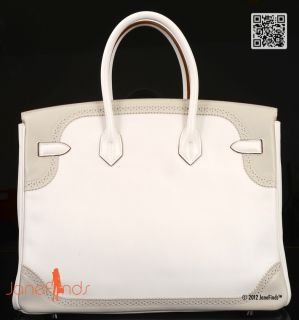 Limited Edition Hermes Birkin Bag 35cm Ghillies White Gris Perle Combo