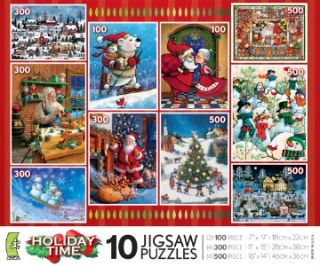 Holiday Time 10 in 1 Christmas Puzzles Multi Pack 2010