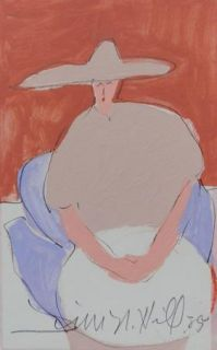 Original Jim N Hill Acrylic Painting Woman with Hat in Taupe on Chair