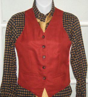 Custom Made Carl Meyers Long Sleeved Shirt Red Saddleseat Vest Gold