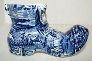 JAMES KENT OLD FOLEY FINE CHINA BLUE SHOE OR BOOT ~ STAFFORDSHIRE