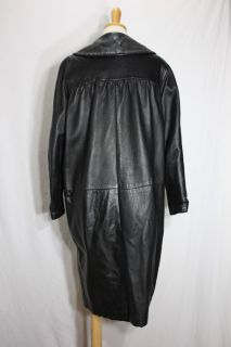 60s Thick Leather Swing Coat Jacket Peter Pan Collar Small